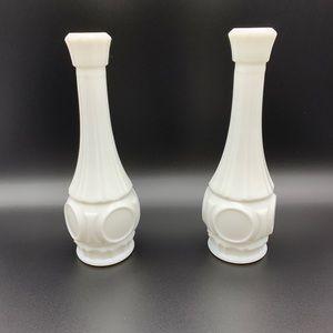 2 MCM Vintage Milk Glass Bud Flower vases